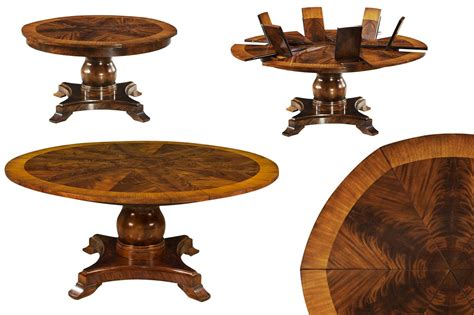 pedestal table with leaf formal round to round mahogany jupe table w self storing