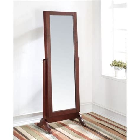 cherry jewelry armoire mirror bowery hill mirror jewelry armoire in cherry bh 530945
