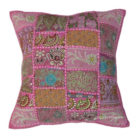 Pink Patchwork Throw - pink indian vintage sari patchwork throw pillow