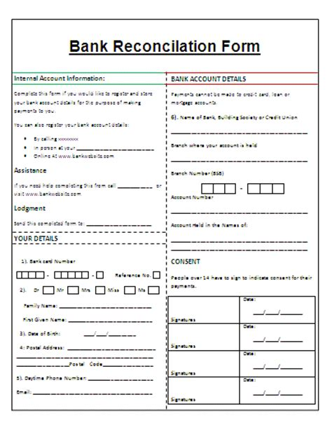 blank bank statement template bank reconciliation template cyberuse