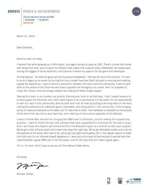 Donation Letter Turner Michael Open Letter The Official Site Of The Bobcats