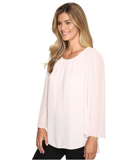 pleated sleeve chiffon blouse vince camuto chiffon pleated sleeve blouse zappos
