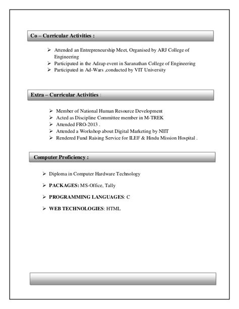 co curricular activities in resume sle resume ideas