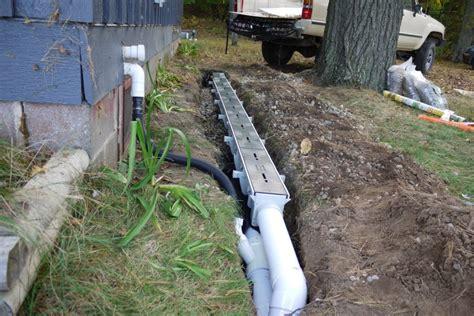 sump pump backyard drainage french drain installation