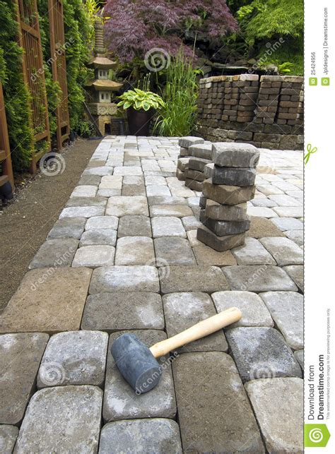 laying garden pavers patio stock photo image of stack
