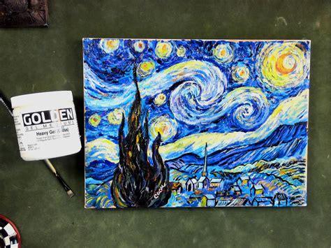 acrylic painting using medium step by step gogh s starry using impasto acrylic
