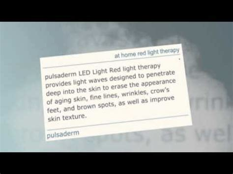 at home light therapy at home red light therapy pulsaderm youtube