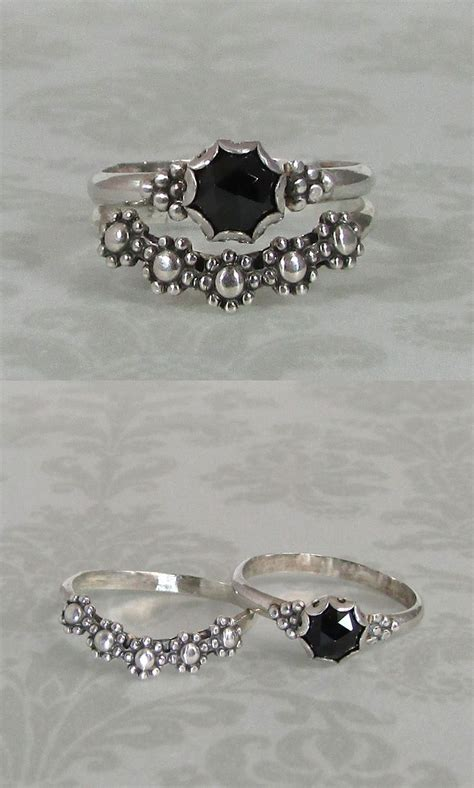 modern victorian rose cut black spinel solitaire