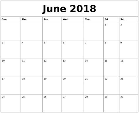 printable calendar june 2018 june 2018 monthly calendar printable