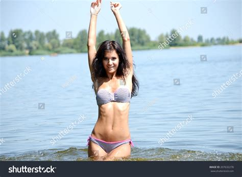 young girl with bathing suit stock photo beautiful young girl bathing suit river stock photo