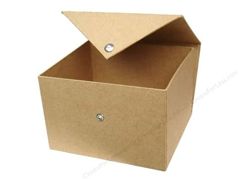 Craft Paper Box - paper mache square box with snap by craft pedlars