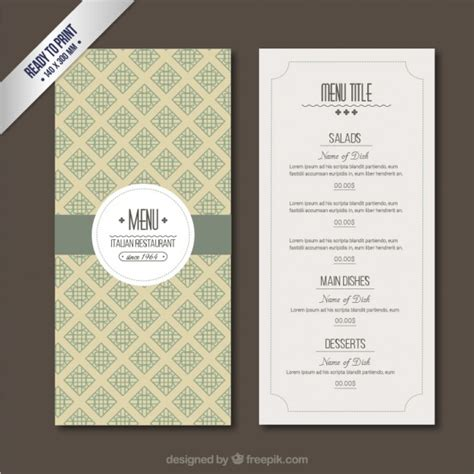 free template for menu retro menu template vector free