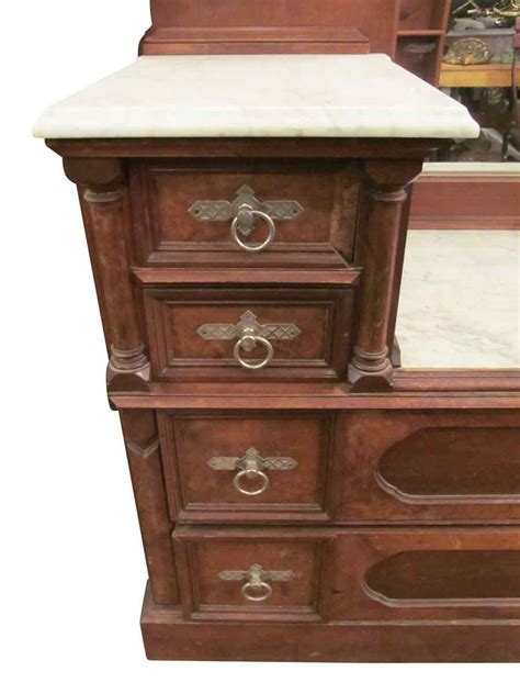 bedroom vanity dresser eastlake carved walnut marble top vanity dresser olde things