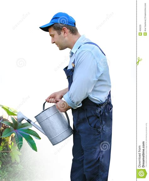 How To Be A Gardener by Gardener Worker In Working Clothes Watering Plants With