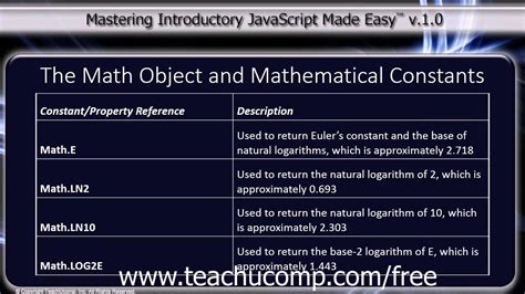 javascript tutorial math javascript training tutorial the math object and