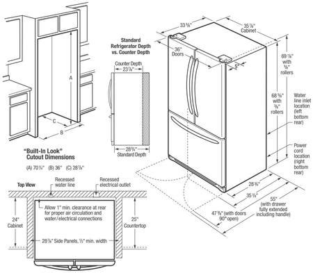 fridge layout guide frigidaire fghb2867tf 36 inch gallery series french door