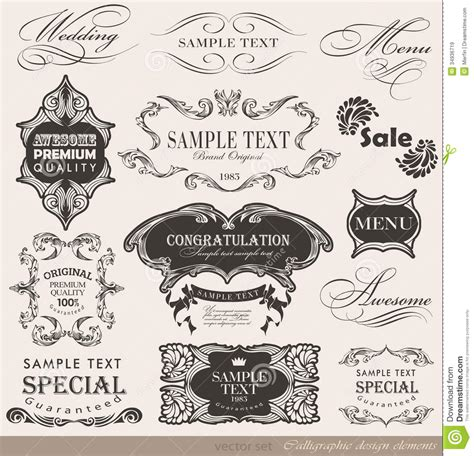 calligraphic design elements vector free calligraphic design elements royalty free stock images