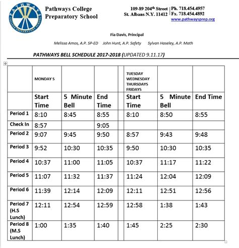 Bell Schedule Template by Pathways College Prep School Bell Schedule