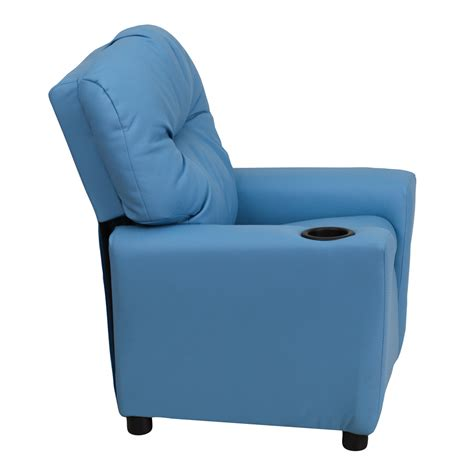 light blue vinyl recliner with cup