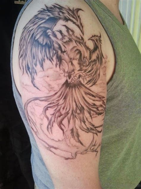 black and grey phoenix tattoo designs 45 colorful shoulder tattoos