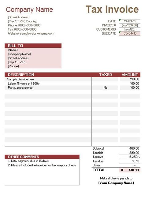 net price calculator template service invoice with tax calculation service invoices