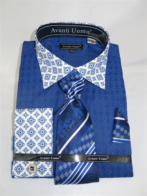 pattern french cuff shirts avanti uomo dn69m blue men s french cuff dress shirt with