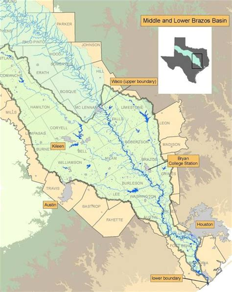 map of brazos river in texas middle and lower brazos instream flow studies texas water development board