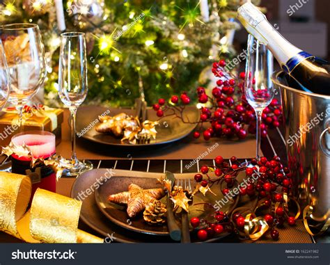 new year celebration dinner new year table setting stock photo
