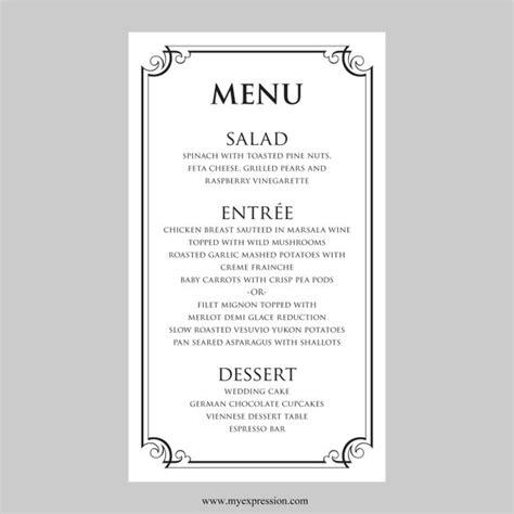 basic menu template hochzeit 252 karte vorlage schwarze ornate frame