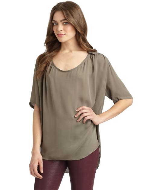 Silk Chiffon Top by Heritage Silk Chiffon Uneck Blouse In Beige Taupe