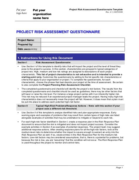 Project Risk Assessment Questionnaire Project Questions Template