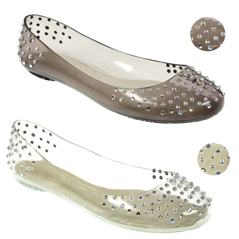 jelly flat shoes womens ballet flat ballerina diamonte jelly jellies