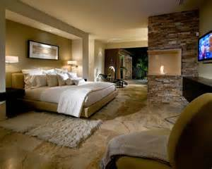 Beautiful Bedrooms with beautiful stone tile flooring this master bedroom adds warmth