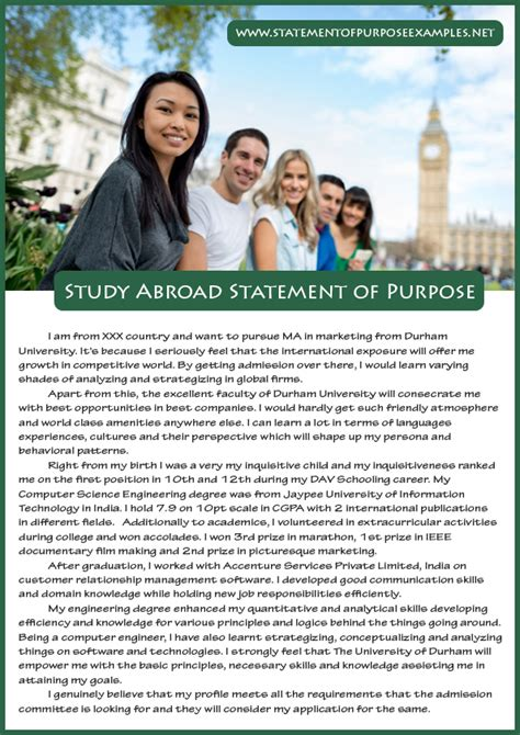 In Abroad For Mba Marketing by How To Write Statement Of Purpose Study Abroad Sle