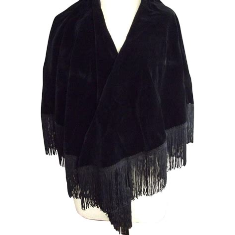 Fashmina Velvet black velvet fringed shawl from fhtv on ruby