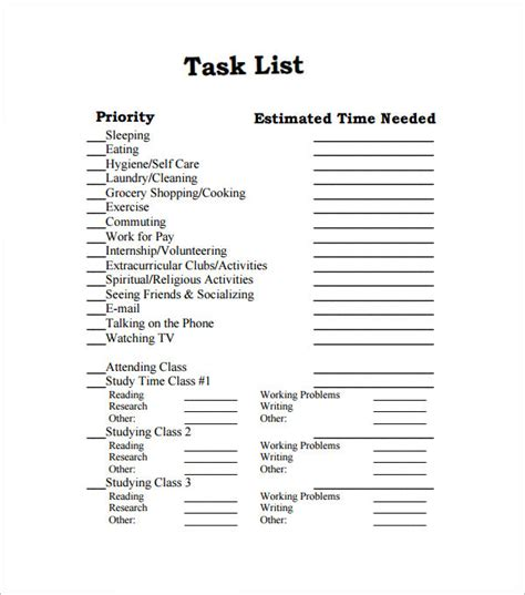 printable secretary to do list sle task list template 8 free documents download in
