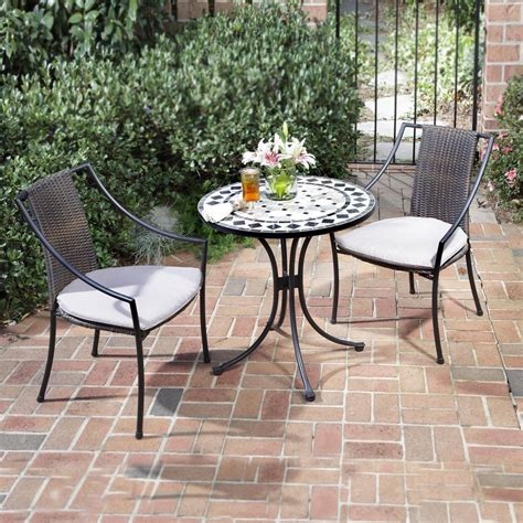 Outdoor Bistro Chairs Shop Home Styles Marble 3 Metal Frame Wicker Bistro Patio Dining Set With Taupe Cushions