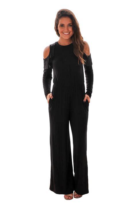 Shoulder Sleeve Jumpsuit us 9 89 black ruffle cold shoulder sleeve jumpsuit