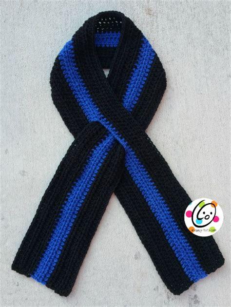 blue pattern scarf thin blue line scarf free crochet pattern