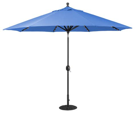 Auto Tilt Patio Umbrella 11 Auto Tilt Patio Umbrella With Led Lights Black Transitional Outdoor Umbrellas By Galtech