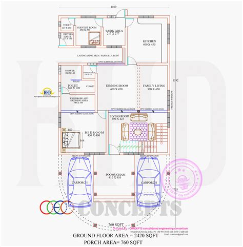 ground floor plan two house elevation with it s interiors keralahousedesigns