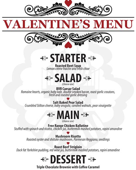 day menu valentine s day set menu the barley vine rail co
