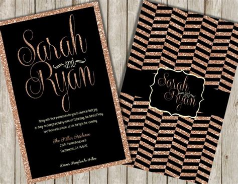 black and gold glitter wedding invitations glitter wedding invitations gold glitter invitations