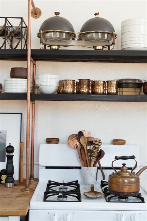 copper kitchen accents home design beautiful copper pipe shelves add a rustic industrial feel
