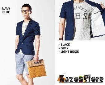 Jaket Jas Blazer Casual Pria Biru detil produk blazer pria casual biru kode njs25 kazoustore
