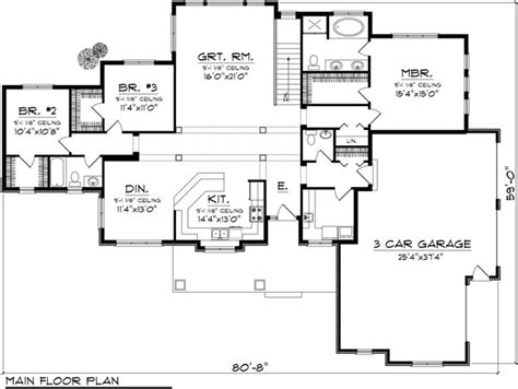 2000 square foot ranch floor plans first floor plan of ranch house plan 96103 2000 sq ft