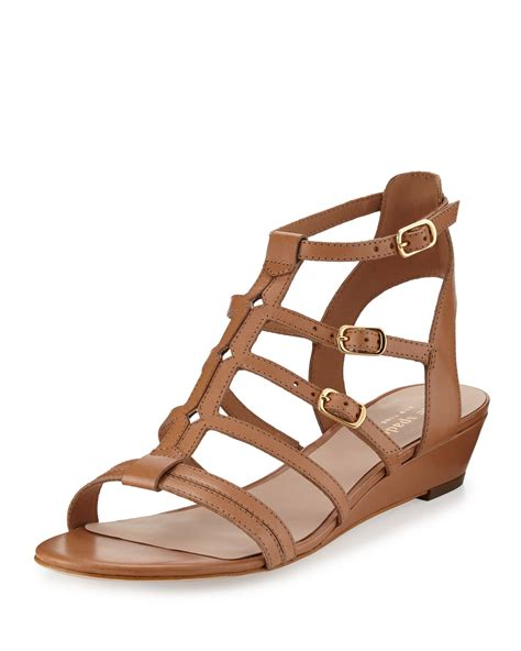 gladiator wedge sandals lyst kate spade new york valetta leather demi wedge