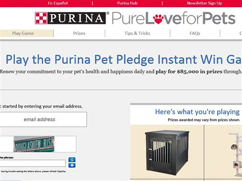 Instant Win Sweepstakes Today - the purina pet pledge instant win game sweepstakes