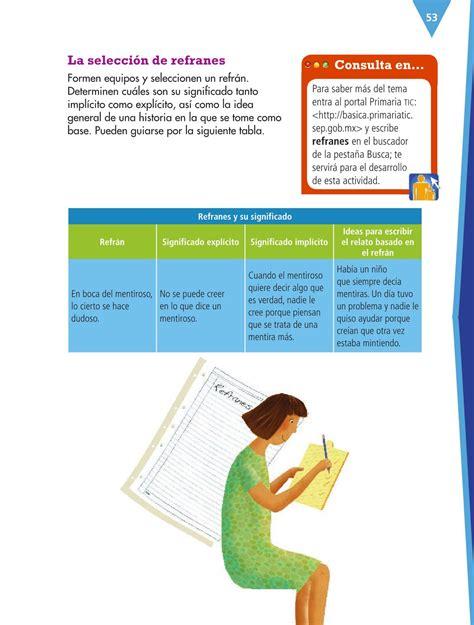 descargar seleccion la libro de texto espa 241 ol cuarto grado 2016 2017 online libros de texto online p 225 gina 53