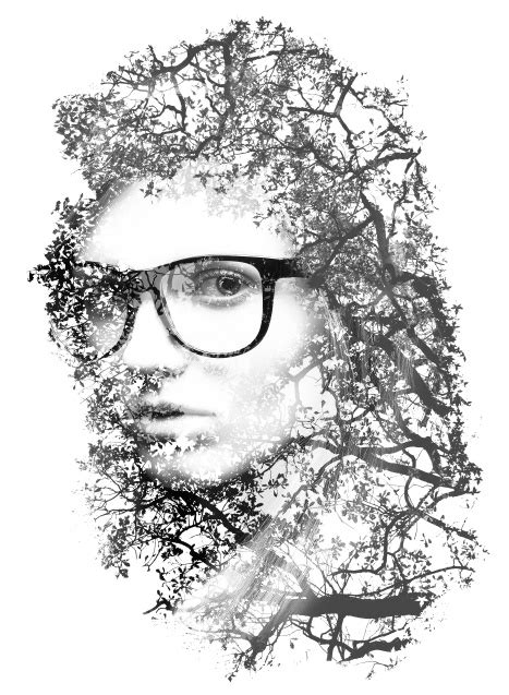 tutorial edit foto black and white double exposure style in photoshop